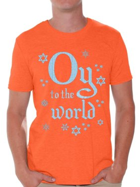 f637c9cf Product Image Awkward Styles Oy To The World Hanukkah Shirt Funny Hanukkah  Shirts for Men Ugly Hanukkah T