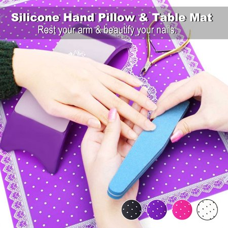1 Set Nail Art Silicone Hand Pillow & Table Mat Cushion Holder Pad Washable Foldable Arm Rest Manicure Tool Purple - image 1 of 7