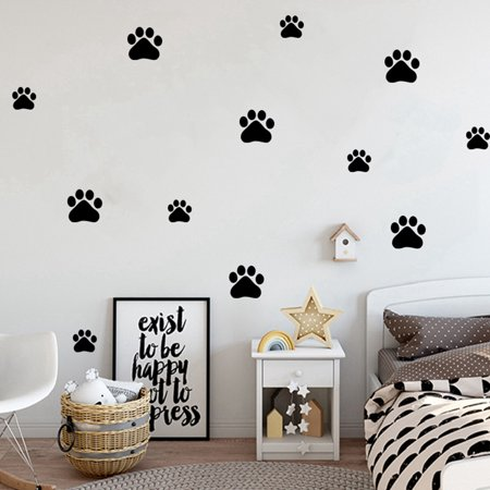 1(Sheet) Creative Lovely Dog Footprint Pattern Wall Sticker Wall Decal Home Living Room Kids Room Nursery Pet Store Wall Floor Window Decoration, Black/ White](Halloween Sayings Kids)