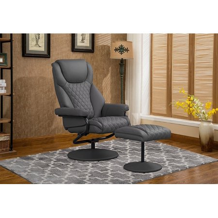 Pleasing Office Swivel Chair With Footstool Faux Leather Reclining Executive And Gaming Chairs Grey Machost Co Dining Chair Design Ideas Machostcouk