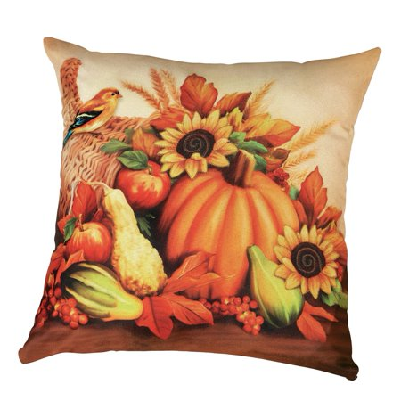 Fall Pumpkin And Sunflower Harvest Pillow Cover - Seasonal Accent Home Decor ()