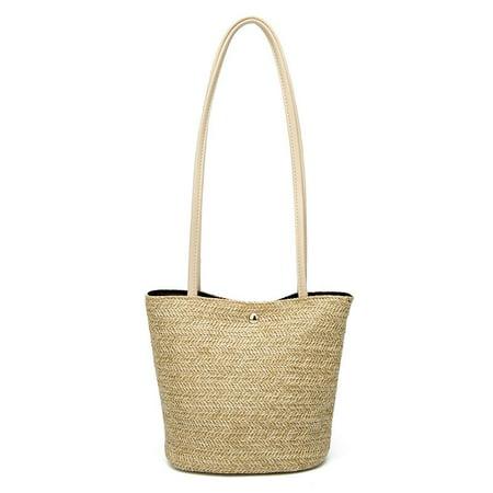 Women Hand-Woven Rattan Bag Small Shouldbag Summer Straw Woven Bucket Purse - Jacquard Bucket Handbag