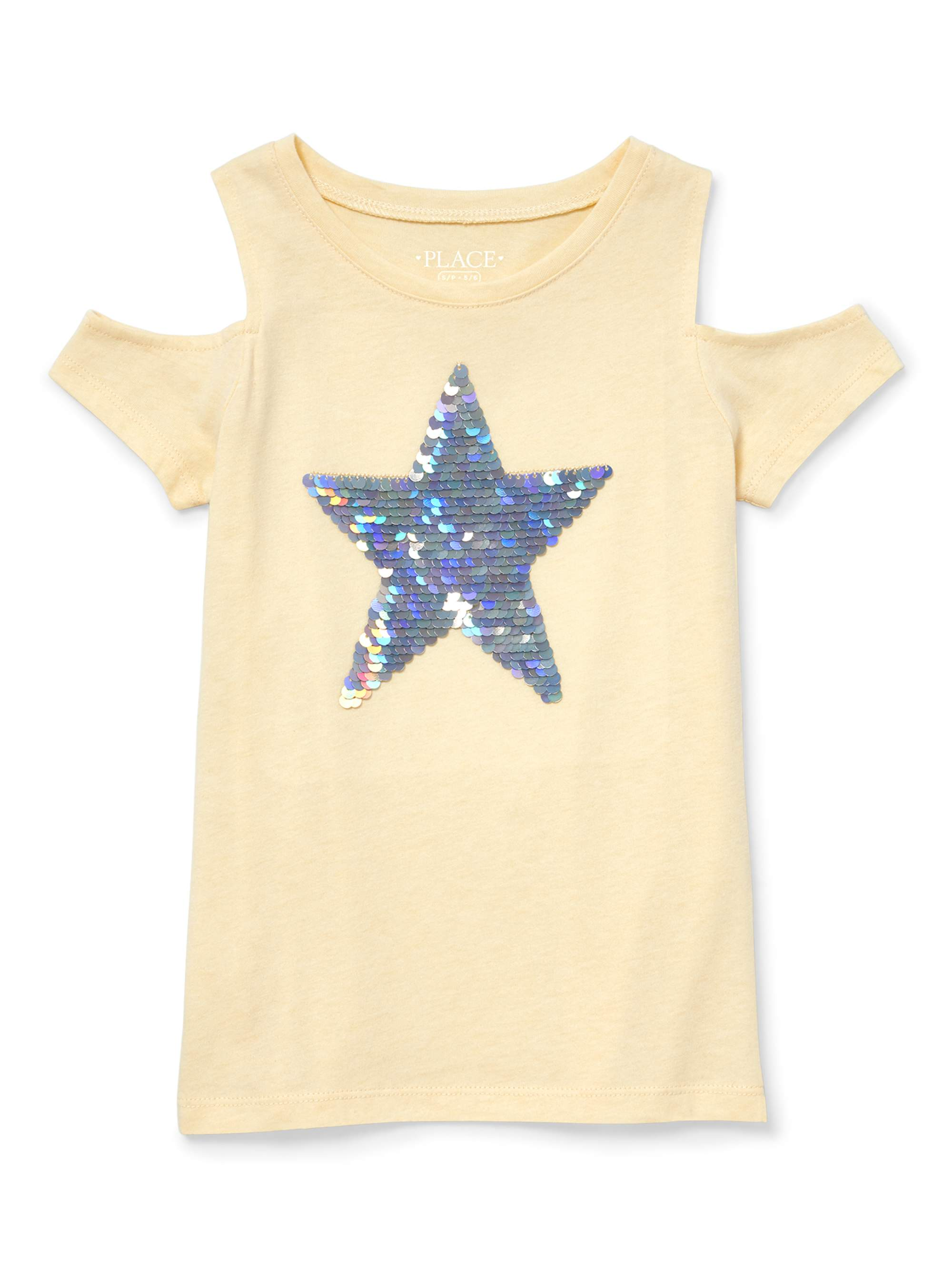 Sequin Star Cold Shoulder Tee (Little Girls & Big Girls)