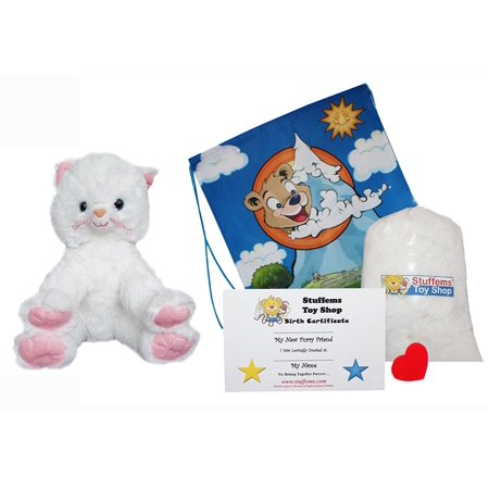 Own Kitty - Make Your Own Stuffed Animal 16 Inch White Kitty No Sew - Kit With Cute Backpack!