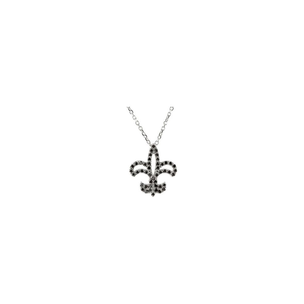 "14k White Gold 1 4 Ct Diamond Fleur De Lis 16"" Necklace by"
