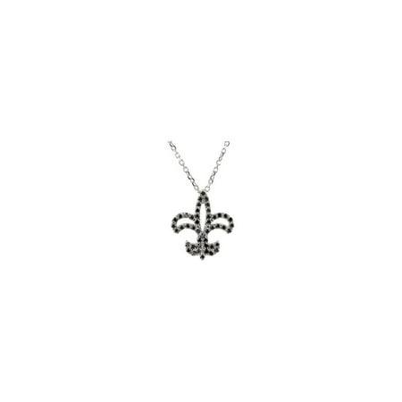 14k White Gold 1/4 Ct Diamond Fleur De Lis 16