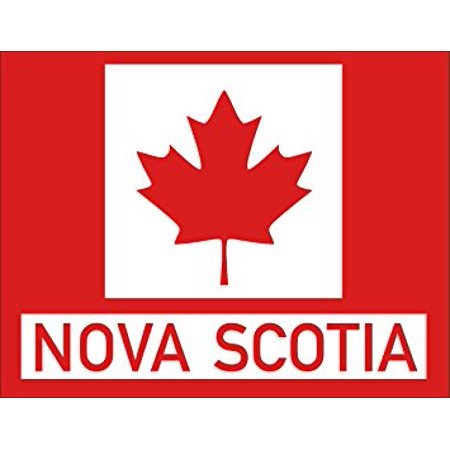 - Red Maple Leaf Rectangle With NOVA SCOTIA Sticker Decal (canadian canada province) 3 x 4 inch