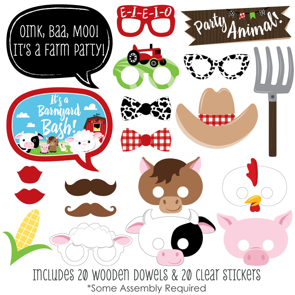 Farm Animals - Baby Shower or Birthday Photo Booth Props Kit- 20 Count