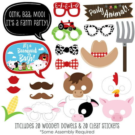 Farm Animals - Baby Shower or Birthday Photo Booth Props Kit- 20 Count for $<!---->