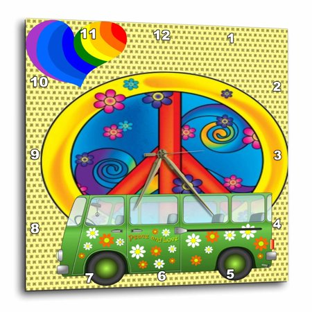 3Drose The 60S Peace Love Flower Power Van And Peace Sign Art  Wall Clock  10 By 10 Inch