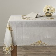 Saro Embroidered Blossom Tablecloth
