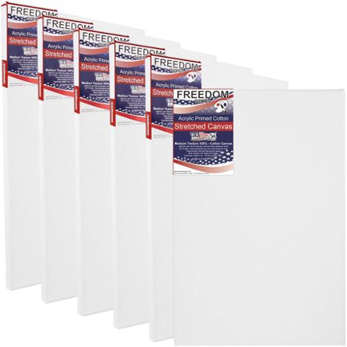 "6 Pack of U.S. Art Supply 20"" x 30"" Acrylic Primed Cotton Duck Stretched Canvas"