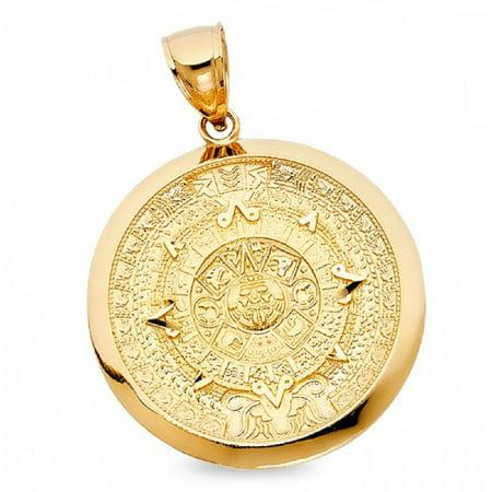 Solid 14k Yellow Gold Mayan Aztec Pendant Calendrio Azteca Sun Calendar Pewtar Charm 36 x 36 mm