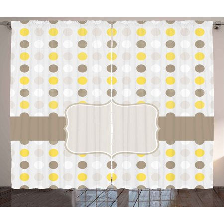 Grey and Yellow Curtains 2 Panels Set, Abstract 60s 50s Inspired Home Decor Polka Dots Image, Window Drapes for Living Room Bedroom, 108W X 84L Inches, Light Brown Marigold and White, by Ambesonne](50s Decor Home)