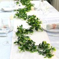 Efavormart 8 FT Green Artificial Boxwood Leaf Garland For Wedding Decor Pary Banquet Decoration