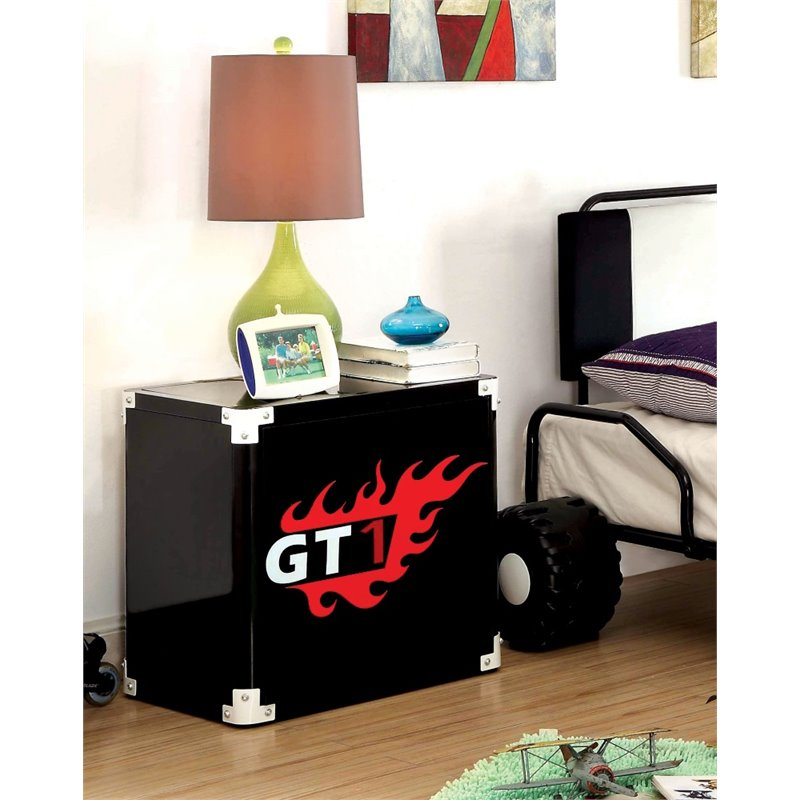 Furniture of America Ramirez Metal Racecar Nightstand in Black