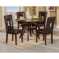 Benzara BM172005 30 x 42 x 42 in. Rubberwood Dining Set with Table & 4 Chairs, Brown - 5 Piece