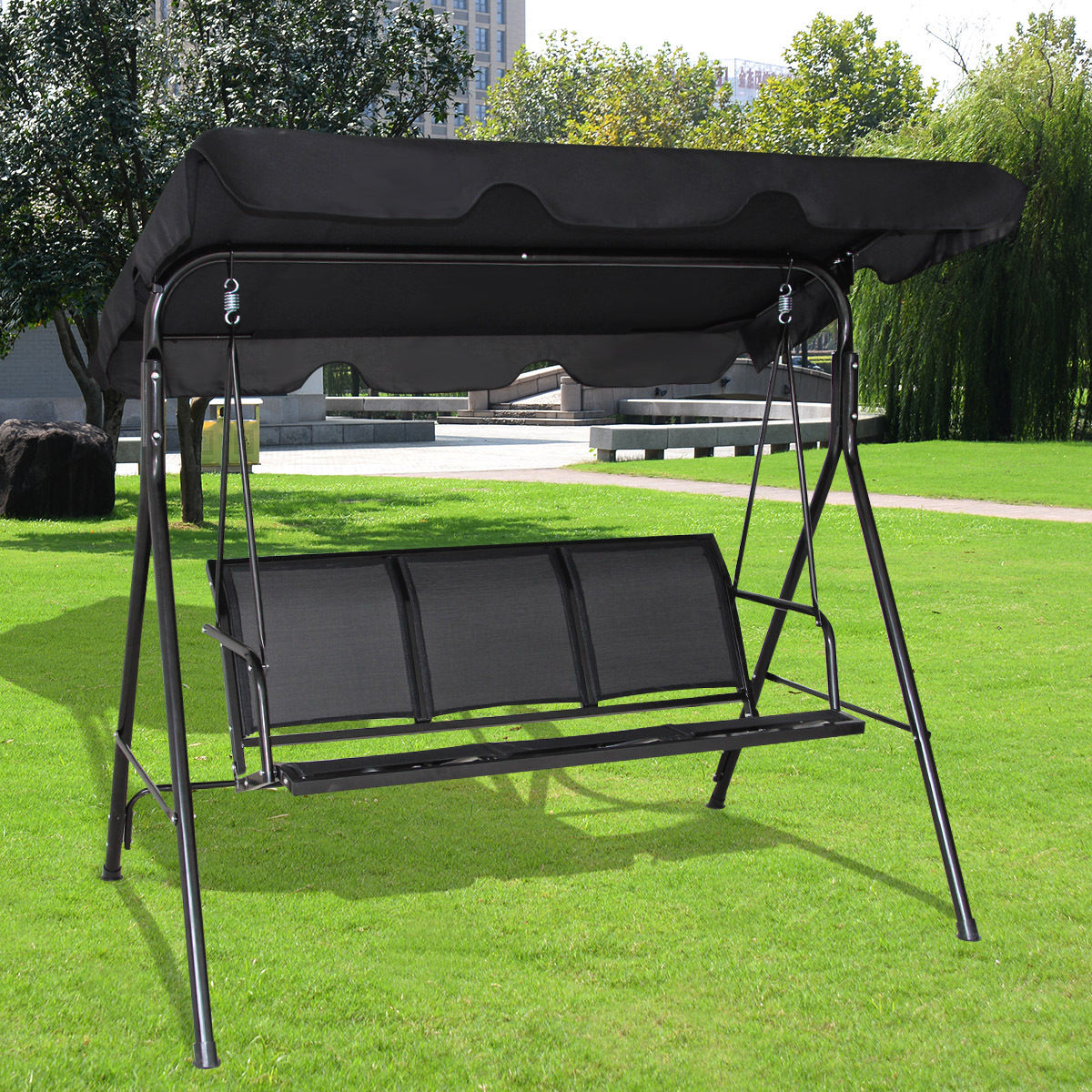 Goplus 3 Person Outdoor Patio Swing Canopy Canopy Swing Chair Patio Hammock Black & Goplus 3 Person Outdoor Patio Swing Canopy Canopy Swing Chair ...