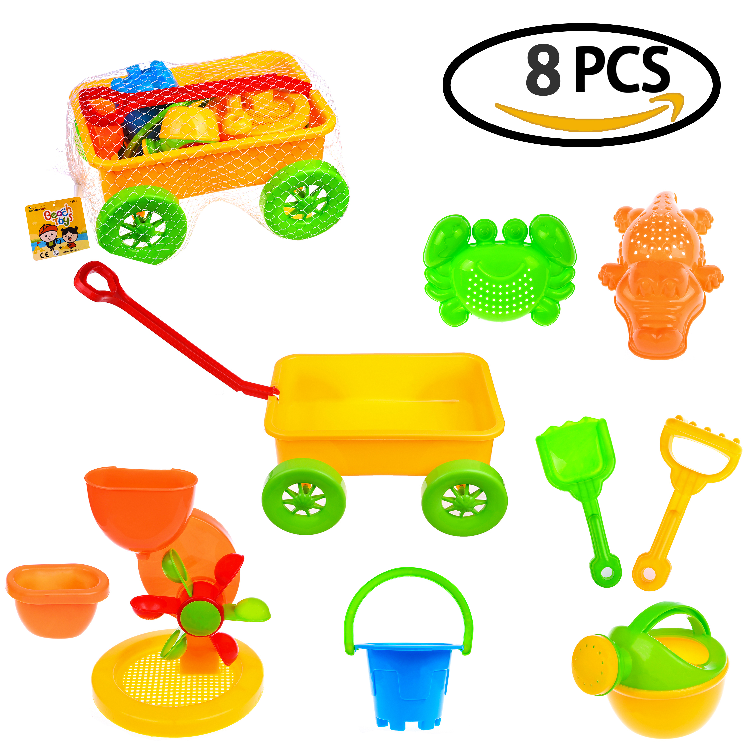 Summer Beach Sand Toy Set for Kids with Reusable Mesh Bag Castle Bucket Sand Mold (8 Pieces) F-133 by