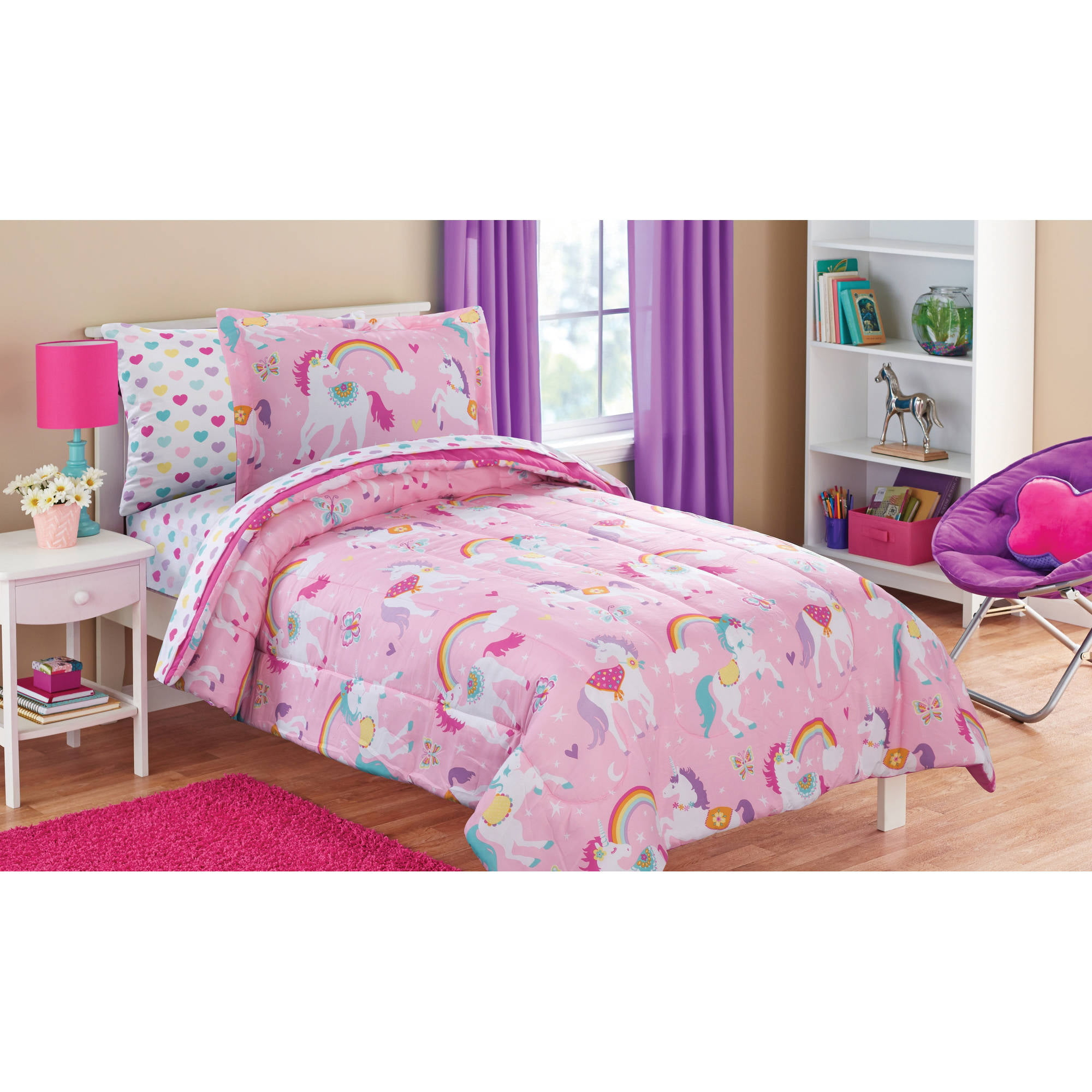 mainstays kids rainbow unicorn bed in a bag complete bedding set ebay. Black Bedroom Furniture Sets. Home Design Ideas