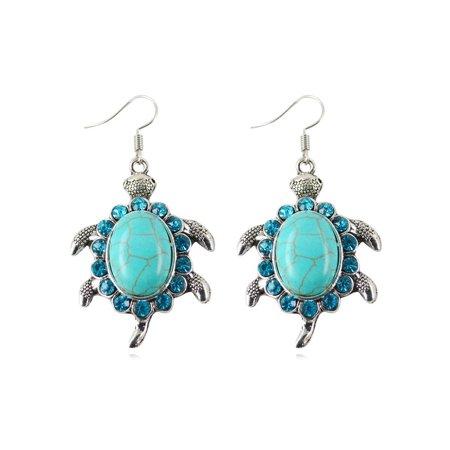 Blue Turquoise Style Crystal Dangle Drop Turtle Woman Earrings Anti-Tarnish Rowena J  Jewelry J-393