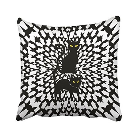 Black And White Nail Designs Halloween (WinHome Decorative Pillowcases Black And White Reversible Halloween Cat Throw Pillow Covers Cases Cushion Cover Case Sofa 18x18 Inches Two)