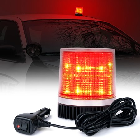 Xprite Red 12 LED 6W LED Magnetic Mount Strobe and Rotating Beacon Light](Red Beacon Light)
