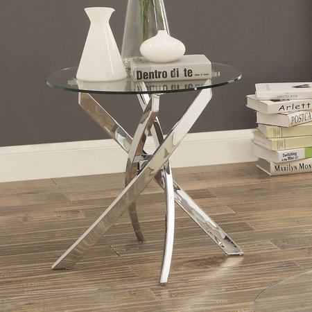 Furniture of America Myron Contemporary Style Chrome Base End Table