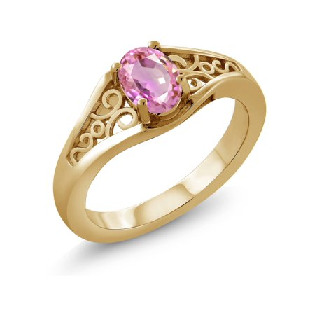 0.55 Ct Oval Pink Sapphire 18K Yellow Gold Plated Silver - Sapphire Gold Plated
