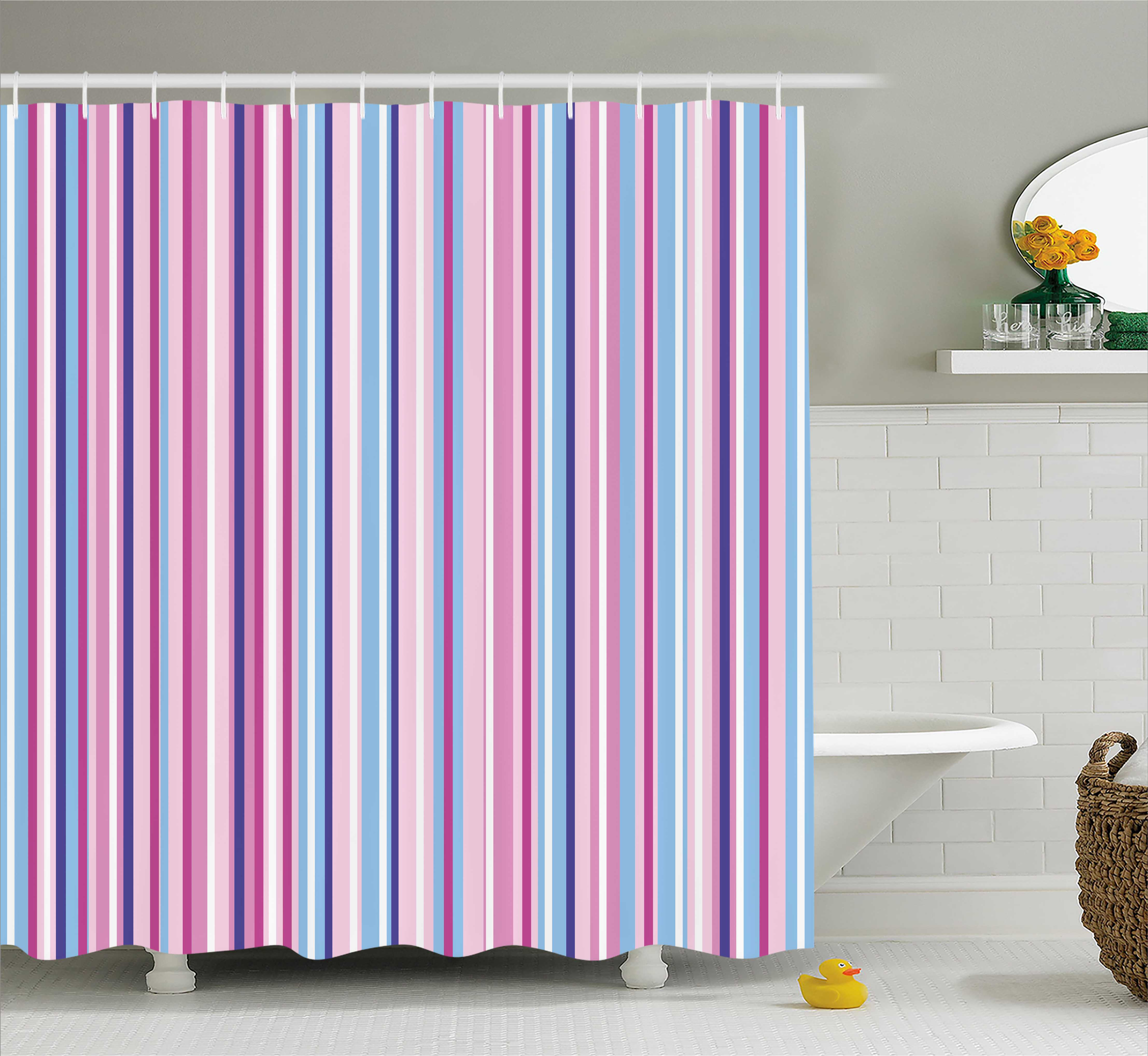 Baby Blue Bathroom Set: Abstract Shower Curtain, Vertical Striped Gradient