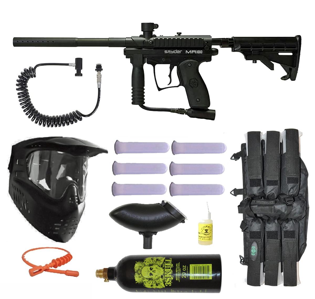 Spyder MR100 Pro Paintball Marker Gun 3Skull Remote Mega Set Black by