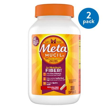 (2 Pack) Metamucil Multi-Health Psyllium Fiber Supplement Capsules, 300 ct Fiber Supplement Capsules