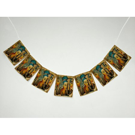 GCKG African Design Ancient Egyptian Parchment Artwork Banner Bunting Garland Flag Sign for Home Family Party Decoration