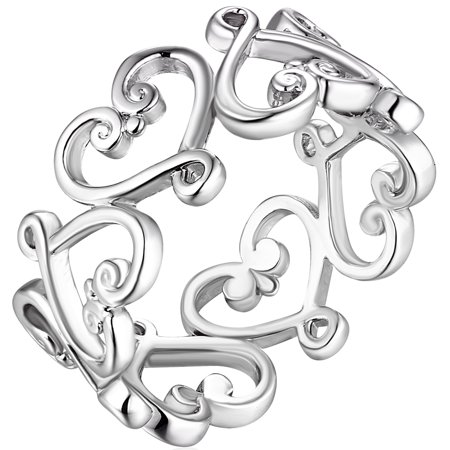 Open Filigree Heart - Filigree Heart Eternity Ring With Silver Rhodium Plating