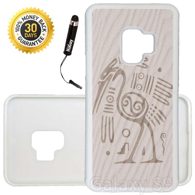 Custom Galaxy S9 Case (Aztec Bird Design Sand) Edge-to-Edge Rubber White Cover Ultra Slim | Lightweight | Includes Stylus Pen by Innosub