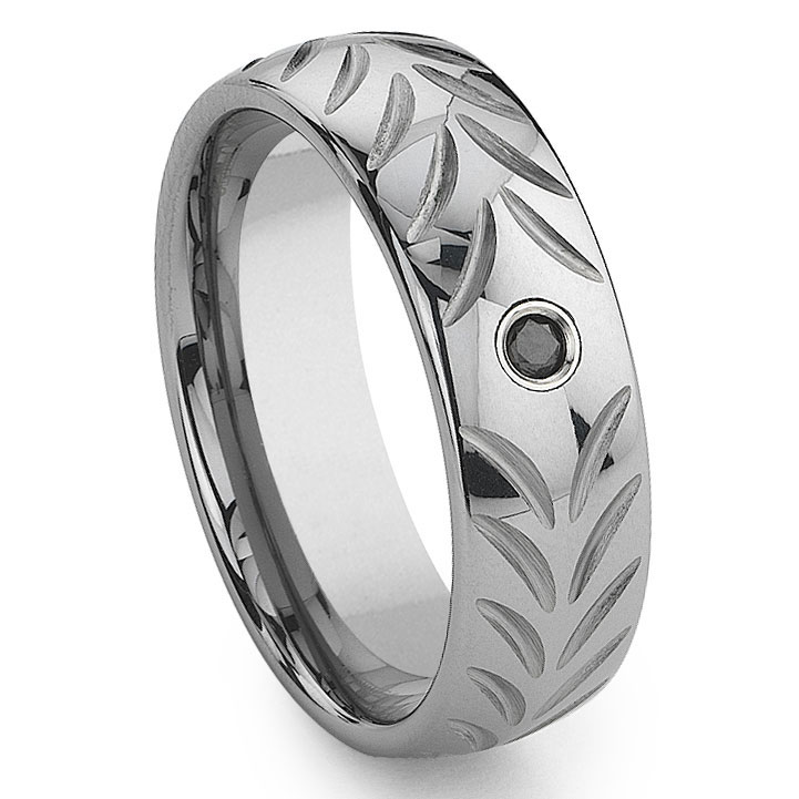 Titanium Kay Tungsten Carbide Black Diamond Chevron Weddi...
