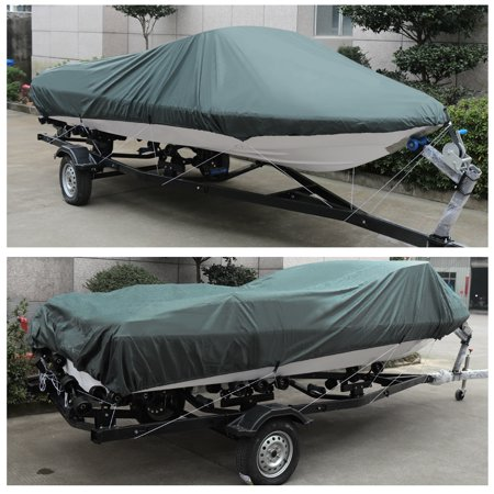 V-Hull 210-Denier Waterproof Boat Cover for 16'-18' Trailerable Fishing Ski Boats Runabout Covers Gray - image 4 de 5