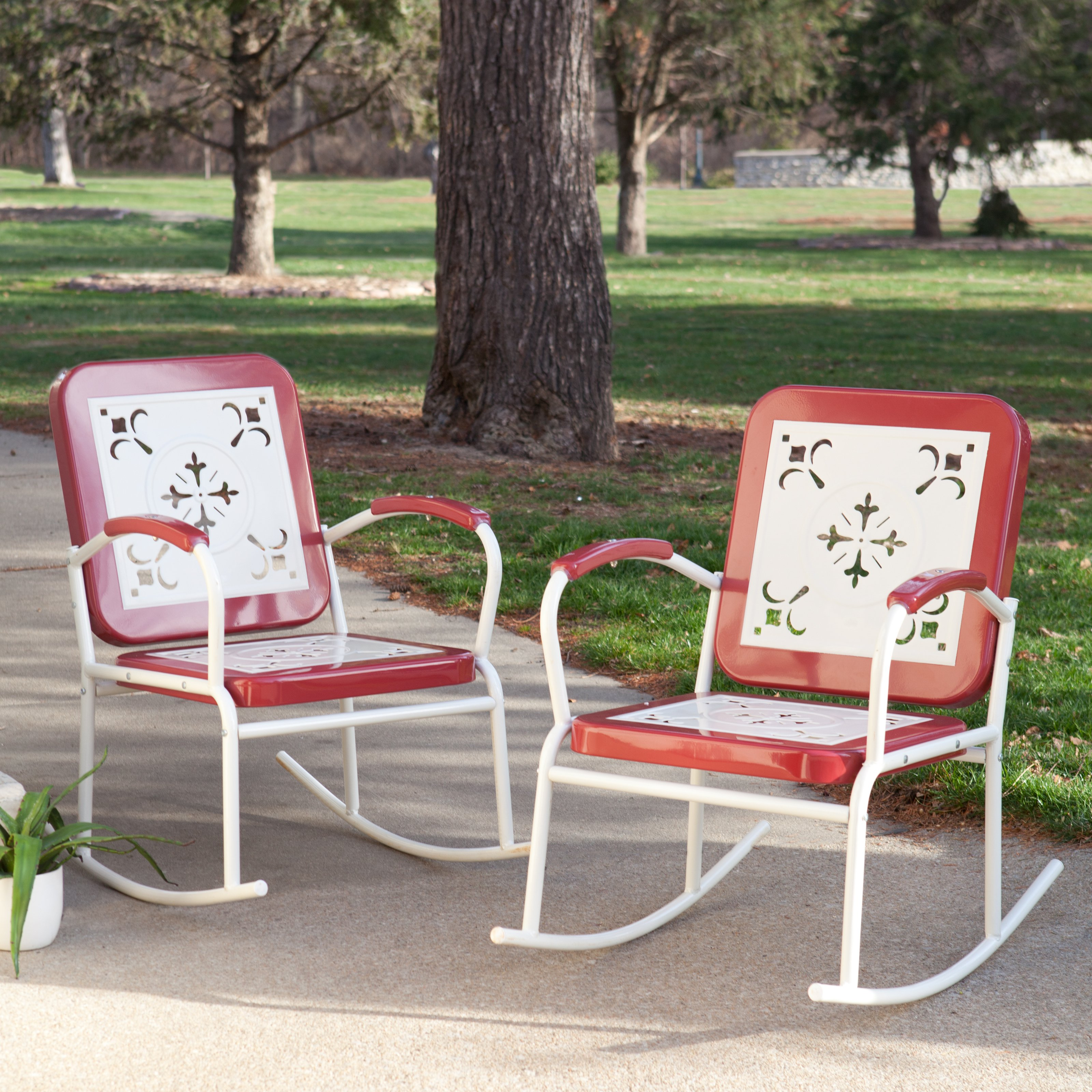 Coral Coast Paradise Cove Retro Metal Rocking Chairs Set of 2 by Chi Wing Rattan Factory