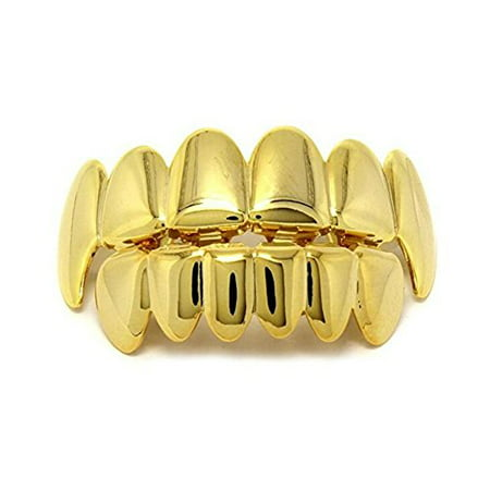 TekDeals Custom 14k Gold Plated Hip Hop Teeth Grillz Caps Top & Bottom Grill Fang - Fake Teeth Grillz