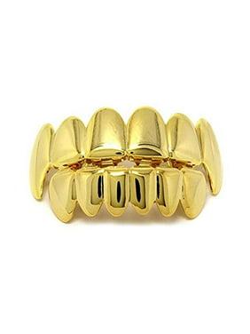TekDeals Custom 14k Gold Plated Hip Hop Teeth Grillz Caps Top & Bottom Grill Fang Set