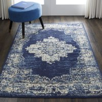Nourison Grafix Center Medallion Navy Blue Area Rug 5ft 3-in X 7-ft 3-in