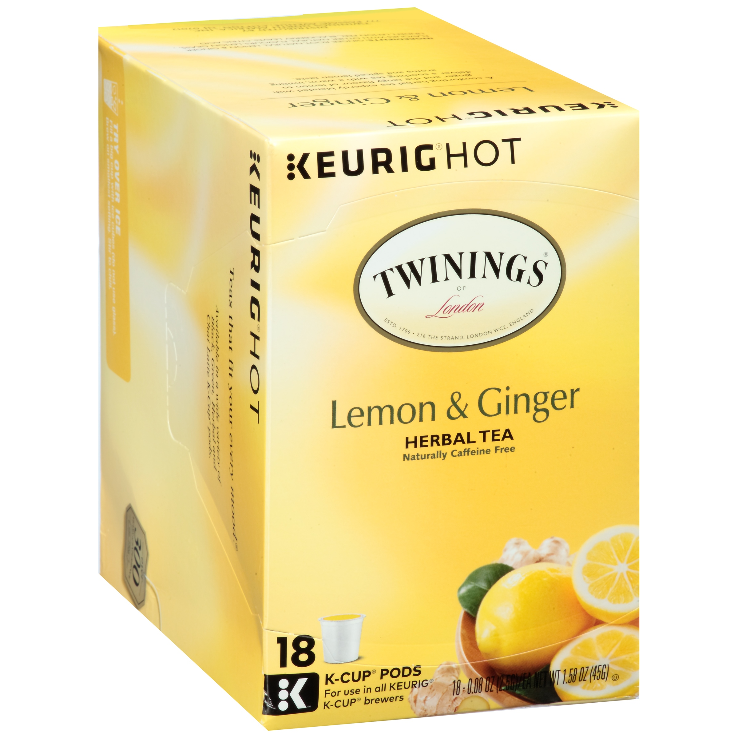 Twinings of London® Lemon & Ginger Herbal Tea 18 ct K-Cup® Pods 1.58 oz. Box
