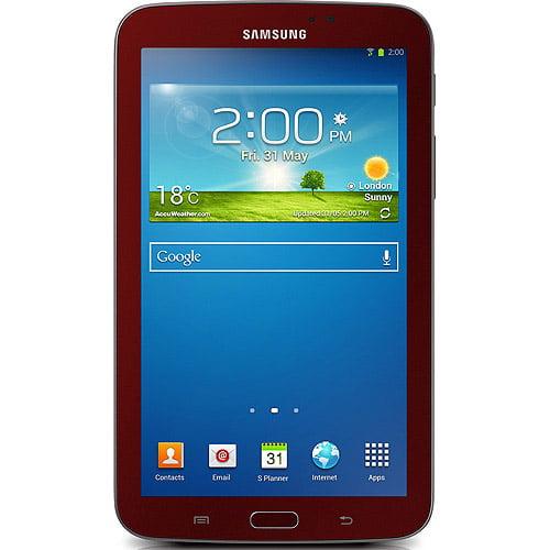 """Samsung Galaxy Tab 3  7"""" Tablet 8GB Memory Garnet Red Bonus cover"""