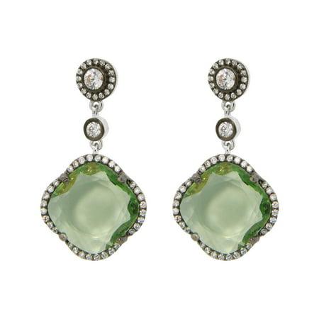 Women's Green Zirconia Stone Clover Dangle Earrings CZ Border Black Rhodium Flashed Sterling Silver