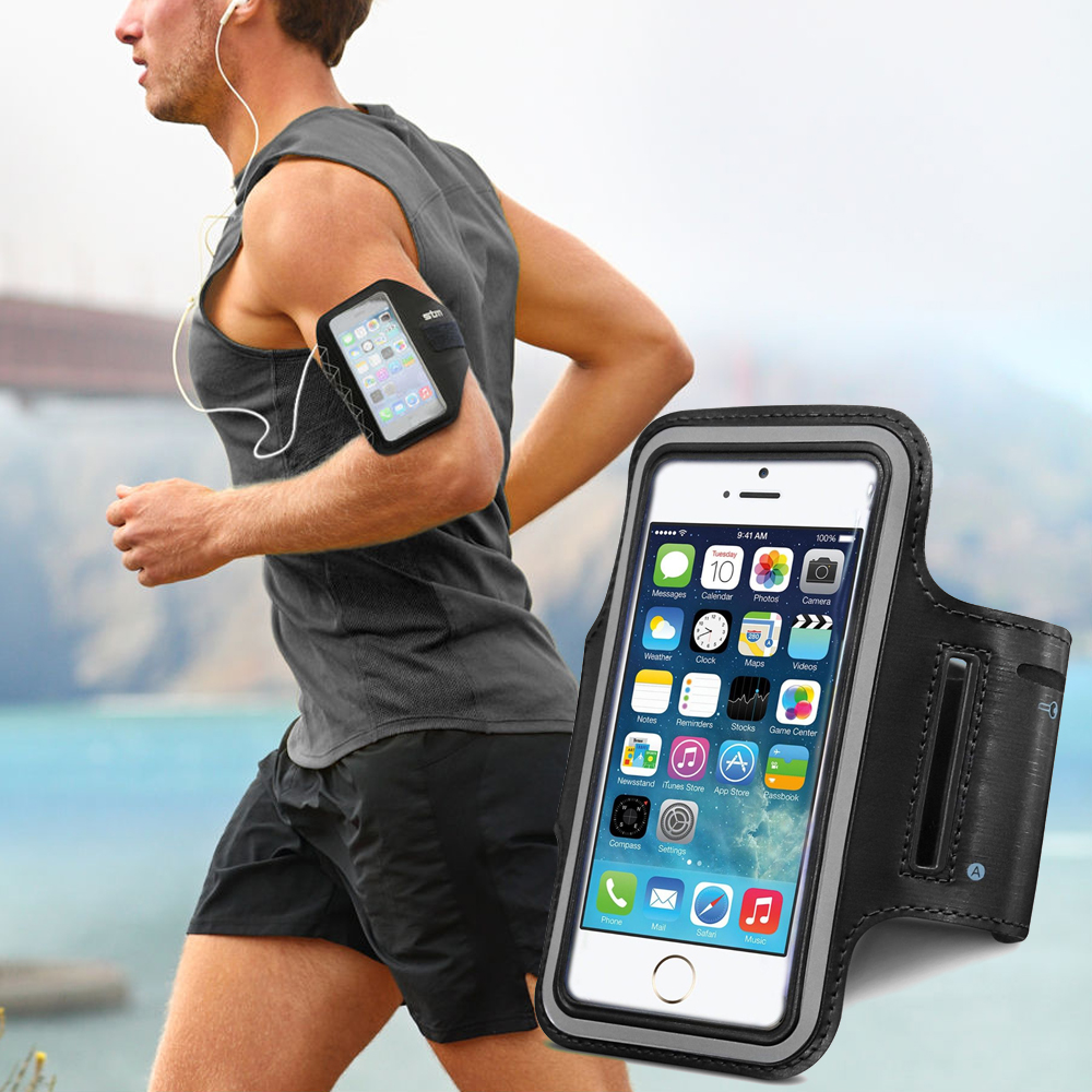 Made for Apple iPhone 6 Plus Case, Black Neoprene Sweat-Proof Armband Case w/ Velcro Closure by Redshield