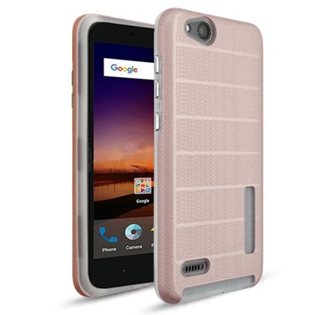 mybat dots textured fusion dual layer [shock absorbing] hybrid hard plastic/soft tpu rubber case cover for zte avid 4/blade vantage/tempo x, rose gold