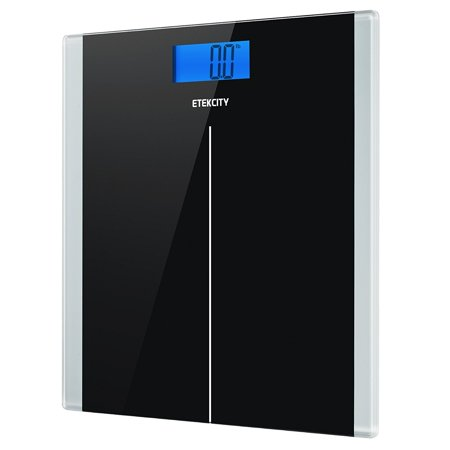 Etekcity Digital Body Weight Bathroom Scale With Step On Technology  400 Pounds  Body Tape Measure Included  Elegant Black