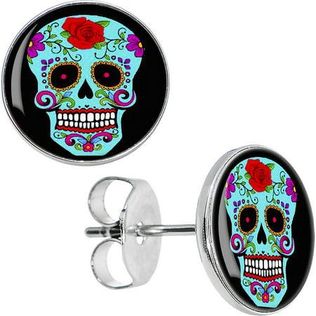 Sugar Skull Earrings (Body Candy Stainless Steel Blue Sugar Skull Stud)