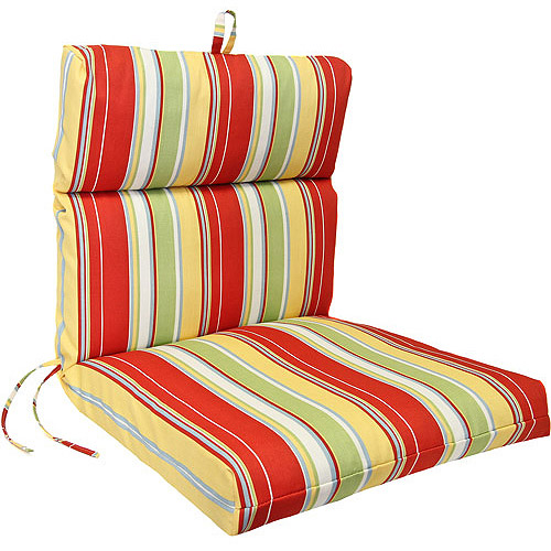 Jordan Manufacturing Stripe Outdoor French Edge Chair Cushion, Multiple Patterns