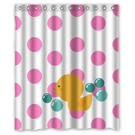GreenDecor Pink White Polk Dots Duck Waterproof Shower Curtain Set with Hooks Bathroom Accessories Size 60x72 inches
